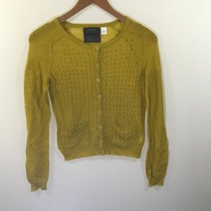 Anthropologie Guinevere Mustard Mohair Cardigan S